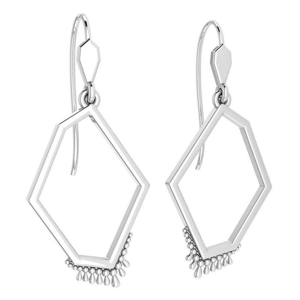 Lot 20161200: Gold Wire Hook Earrings 18k White Gold MADE IN ITALY #PAPPS21236
