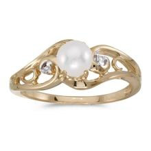 Certified 14k Yellow Gold Pearl And Diamond Ring 0.01 CTW #51237v3