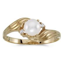 Certified 10k Yellow Gold Pearl And Diamond Ring 0.02 CTW #51190v3