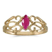 Certified 10k Yellow Gold Marquise Ruby Filagree Ring 0.21 CTW #50724v3