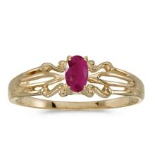 Certified 14k Yellow Gold Oval Ruby Ring 0.18 CTW #50923v3