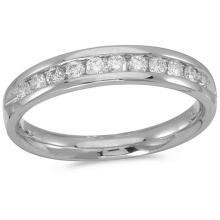 Certified 14K White Gold Diamond Diamond Band Ring 0.5 CTW #51238v3