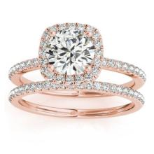 Square Halo Diamond Bridal Set Ring Setting and Band 14k Rose Gold 0.35ct #20645v3