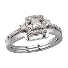 Certified 14K White Gold Princess Diamond Band Ring Set 0.44 CTW #51045v3