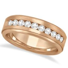 Mens Channel Set Diamond Ring Wedding Band 14kt Rose Gold (1/4ct) #PAPPS21343
