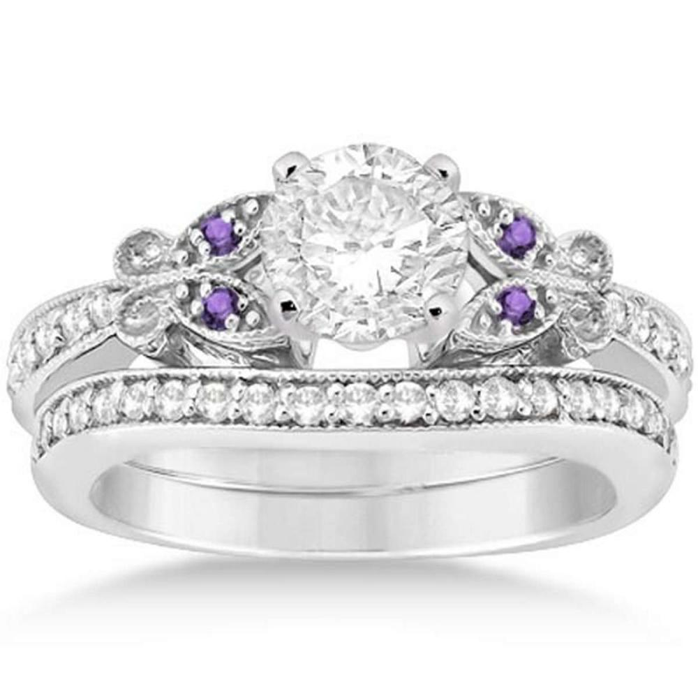 Butterfly Diamond and Amethyst Bridal Set 18k White Gold (0.92ct) #PAPPS20949
