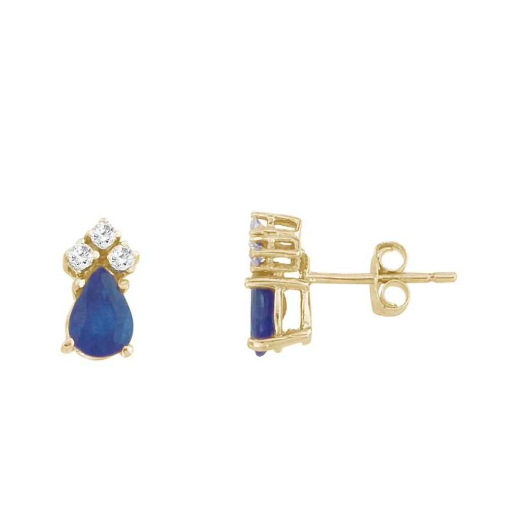 Certified 14k Yellow Gold Sapphire And Diamond Pear Shaped Earrings #PAPPS26880