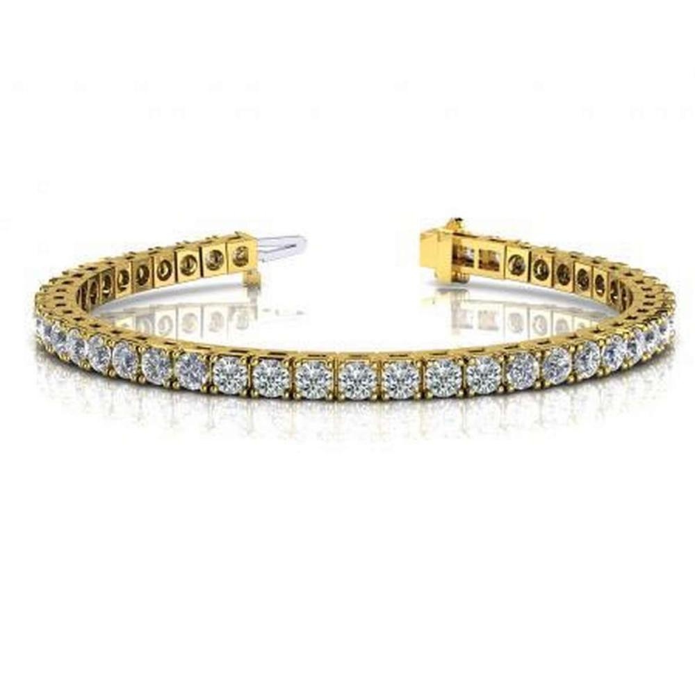 CERTIFIED 14K YELLOW GOLD 3 CTW G-H SI2/I1 CLASSIC FOUR PRONG DIAMOND TENNIS BRACELET MADE IN USA #PAPPS21523
