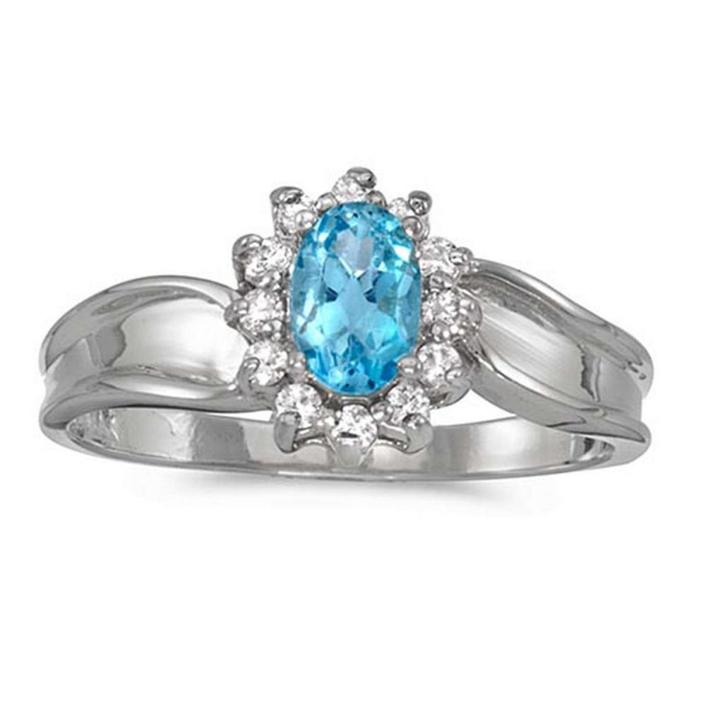 Certified 14k White Gold Oval Blue Topaz And Diamond Ring #PAPPS50848