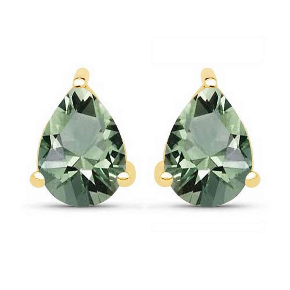 4.10 CTW Genuine Green Amethyst And 14K Yellow Gold Earrings #PAPPS91250