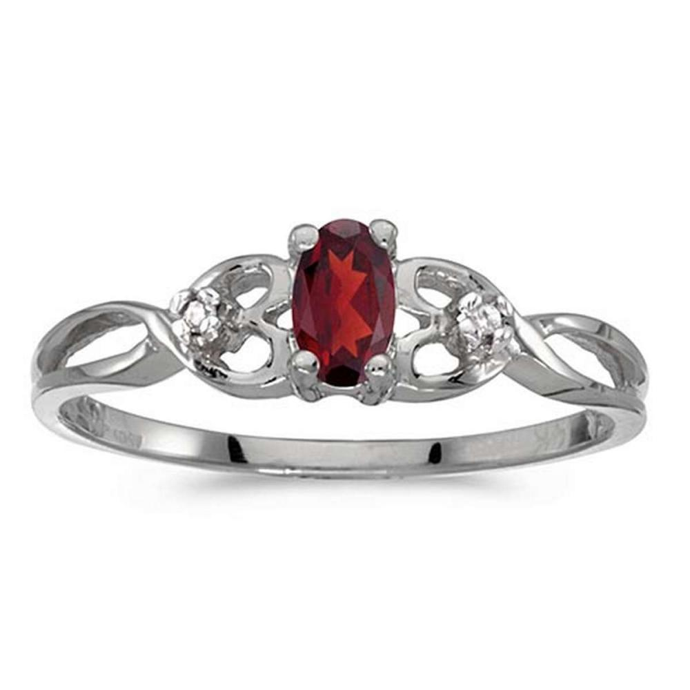 Certified 10k White Gold Oval Garnet And Diamond Ring #PAPPS51509