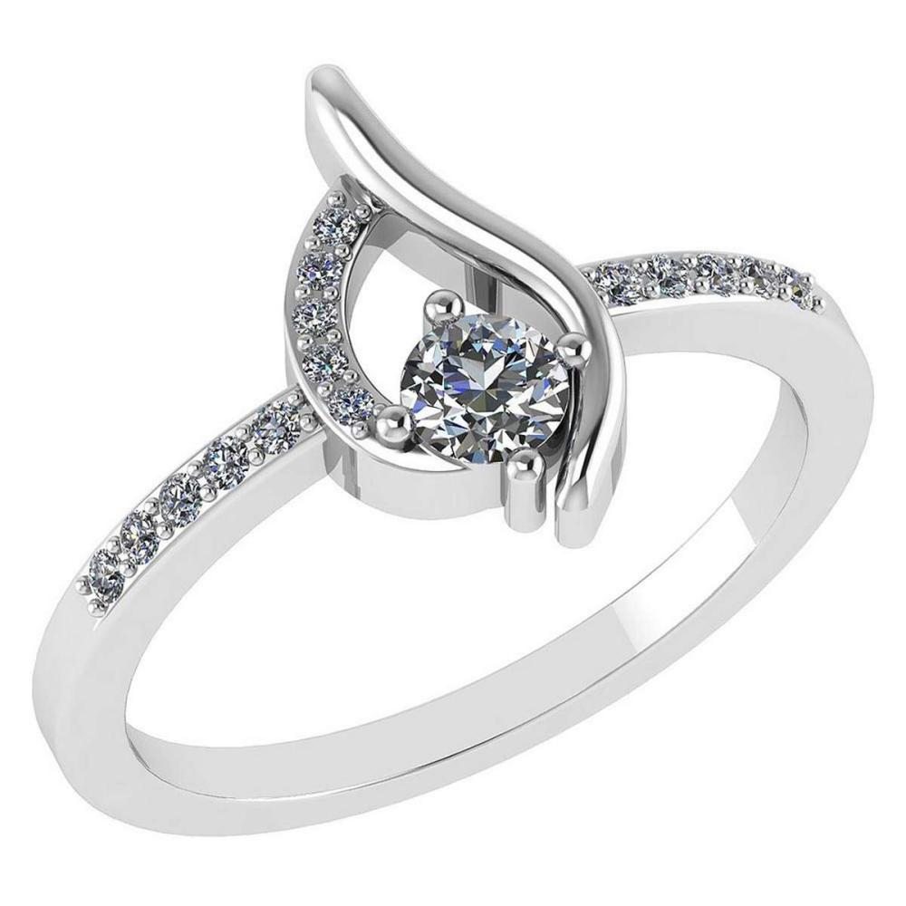 Certified .30 CTW Round Genuine Diamond (G-H/SI1-SI2) 14K White Gold Ring #PAPPS92999