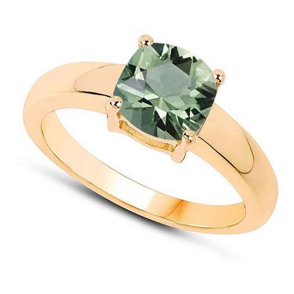 Certified 1.30 CTW Genuine Green Amethyst And 14K Yellow Gold Ring #PAPPS90975