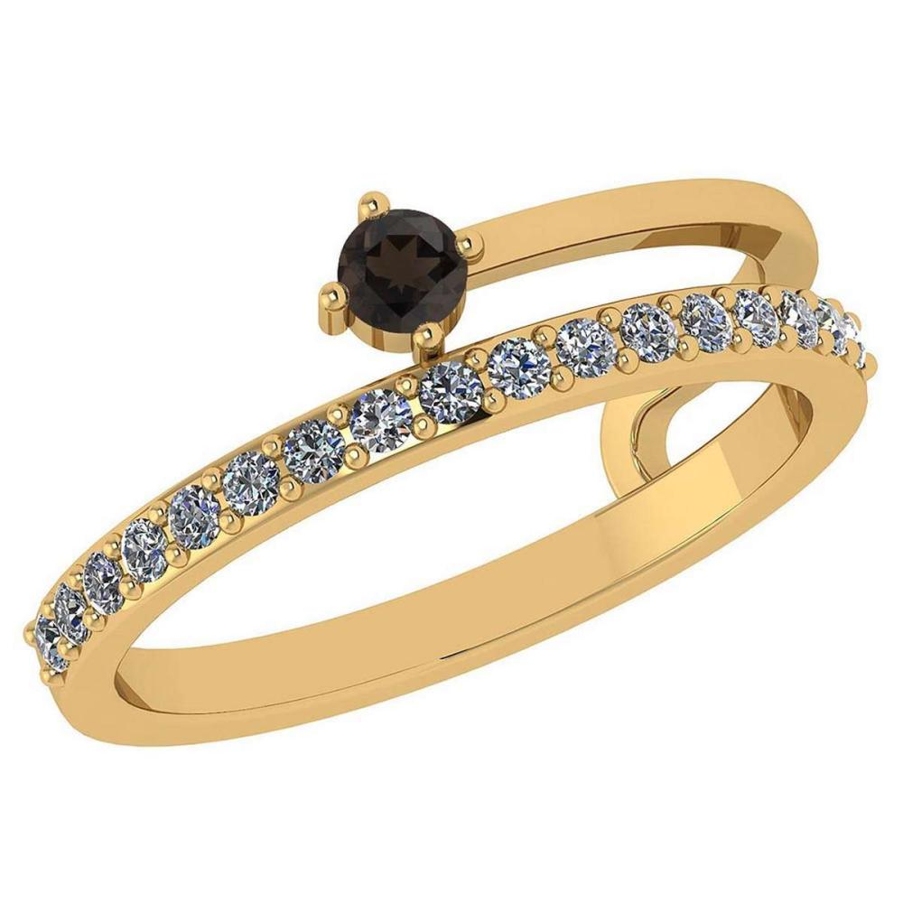 0.34 Ctw Smoky Quarzt And Diamond 14k Yellow Gold Halo Band #PAPPS96119