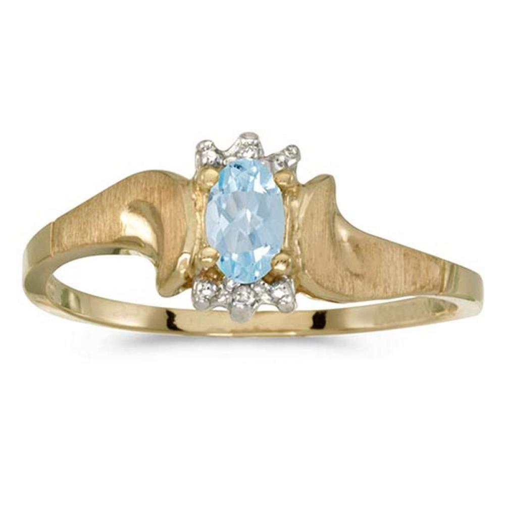 Certified 10k Yellow Gold Oval Aquamarine And Diamond Satin Finish Ring #PAPPS50815