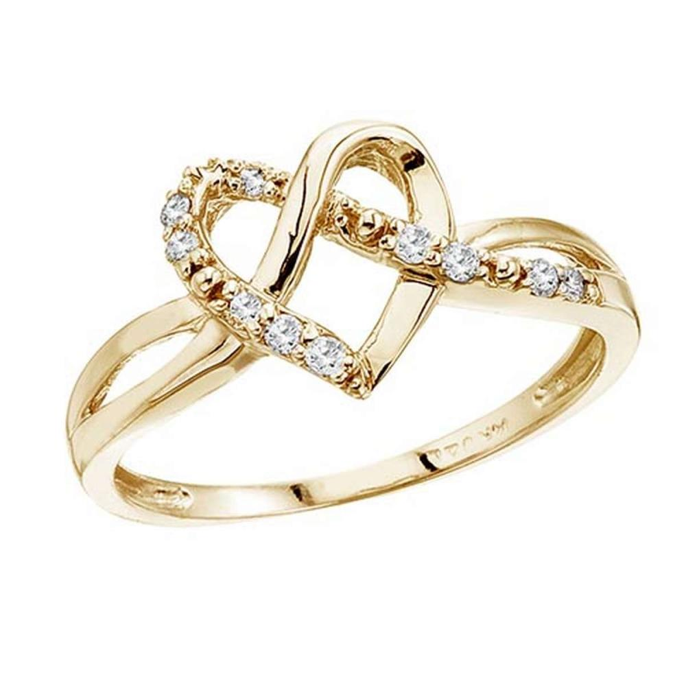 Certified 14K Yellow Gold .10 Ct Diamond Heart Ring #PAPPS50833