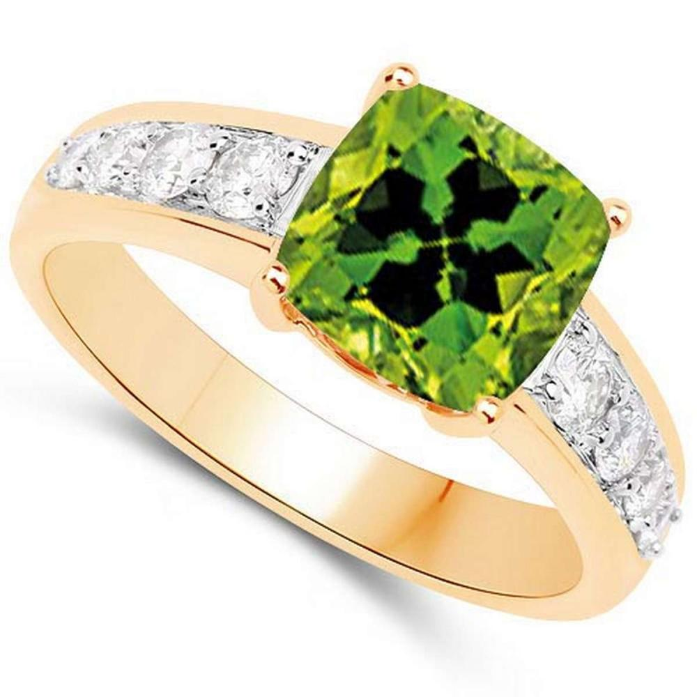 Certified 1.75 CTW Genuine Peridot And Diamond 14K Yellow Gold Ring #PAPPS90892