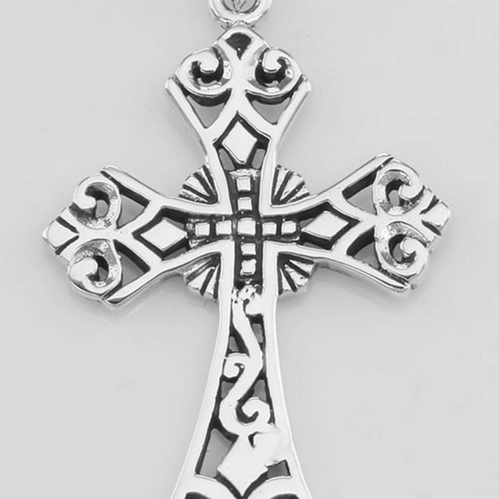 Filigree Openwork Cross Pendant - Sterling Silver #PAPPS97777
