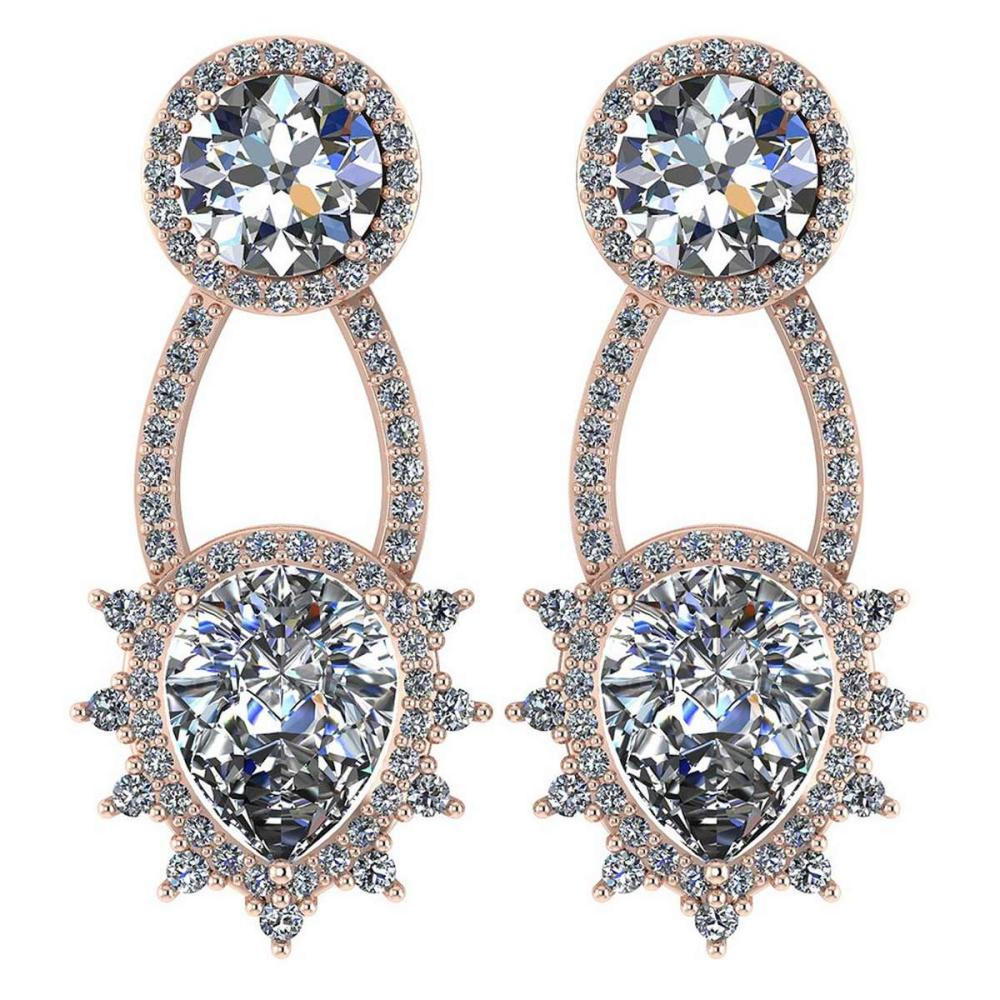 Certified 3.00 CTW Round And Pear Diamond 14K Rose Gold Earring #PAPPS92318