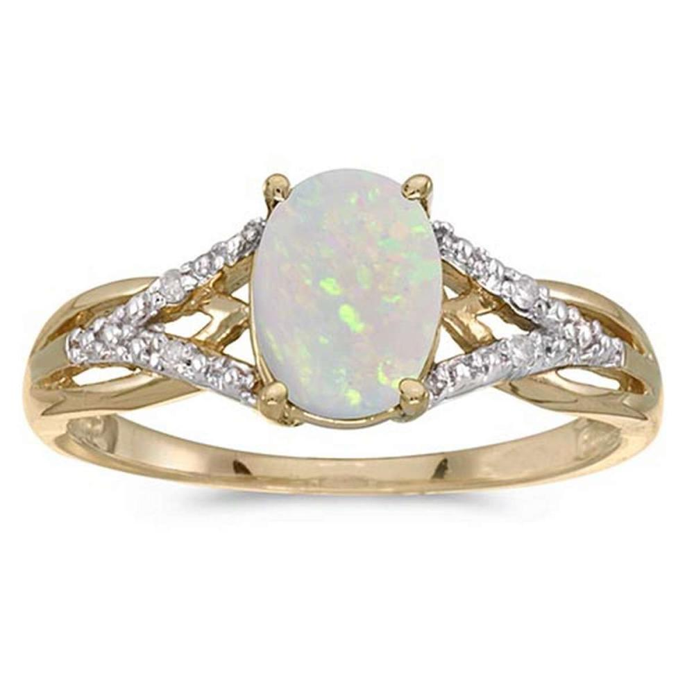 Certified 10k Yellow Gold Oval Opal And Diamond Ring #PAPPS51511