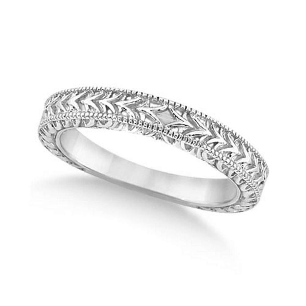 Antique Engraved Wedding Band w/ Filigree and Milgrain 14k White Gold #PAPPS21295