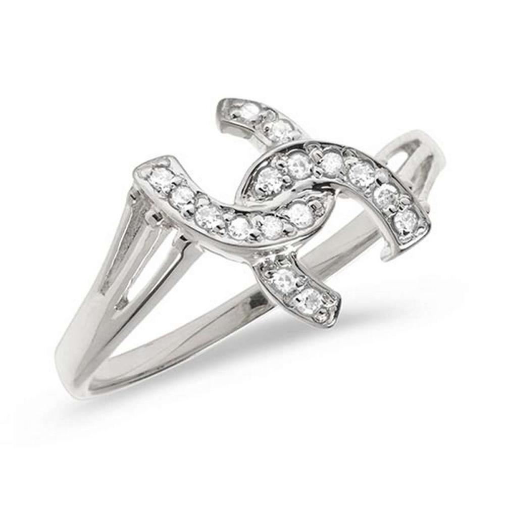 Certified 14K White Gold Diamond Horseshoe Ring #PAPPS50840