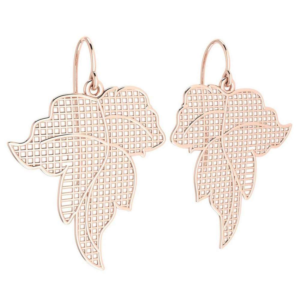 Gold Leaf Style Wire Hook Earrings 18k Rose Gold MADE IN ITALY #PAPPS21241