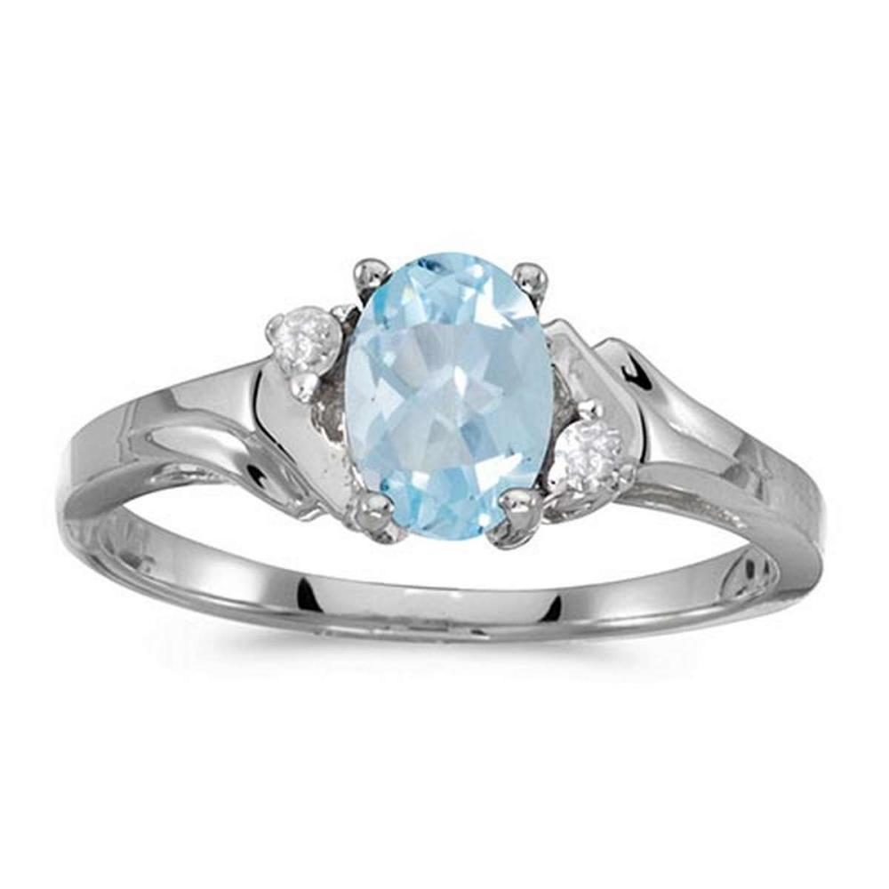 Certified 14k White Gold Oval Aquamarine And Diamond Ring #PAPPS50820