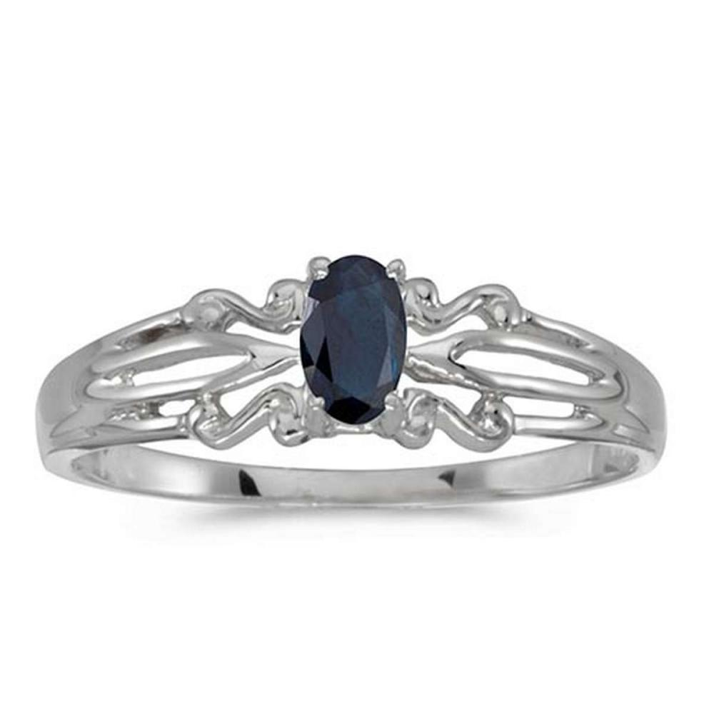 Certified 14k White Gold Oval Sapphire Ring #PAPPS50856
