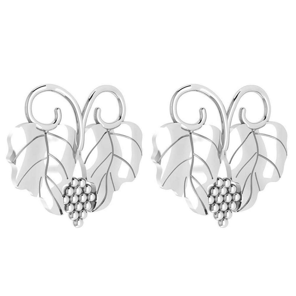 Graps Leaf Style Stud Earrings For beautiful ladies 14k White Gold MADE IN ITALY #PAPPS20254