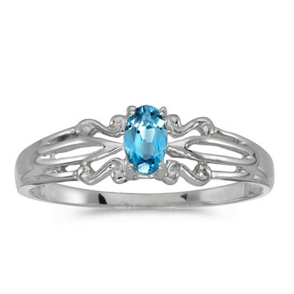 Certified 14k White Gold Oval Blue Topaz Ring #PAPPS50837