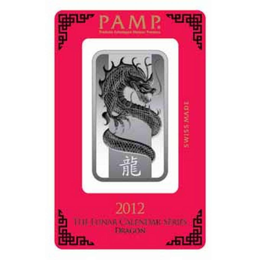 PAMP Suisse Silver Bar 1 oz - 2012 Dragon Design #PAPPS78893