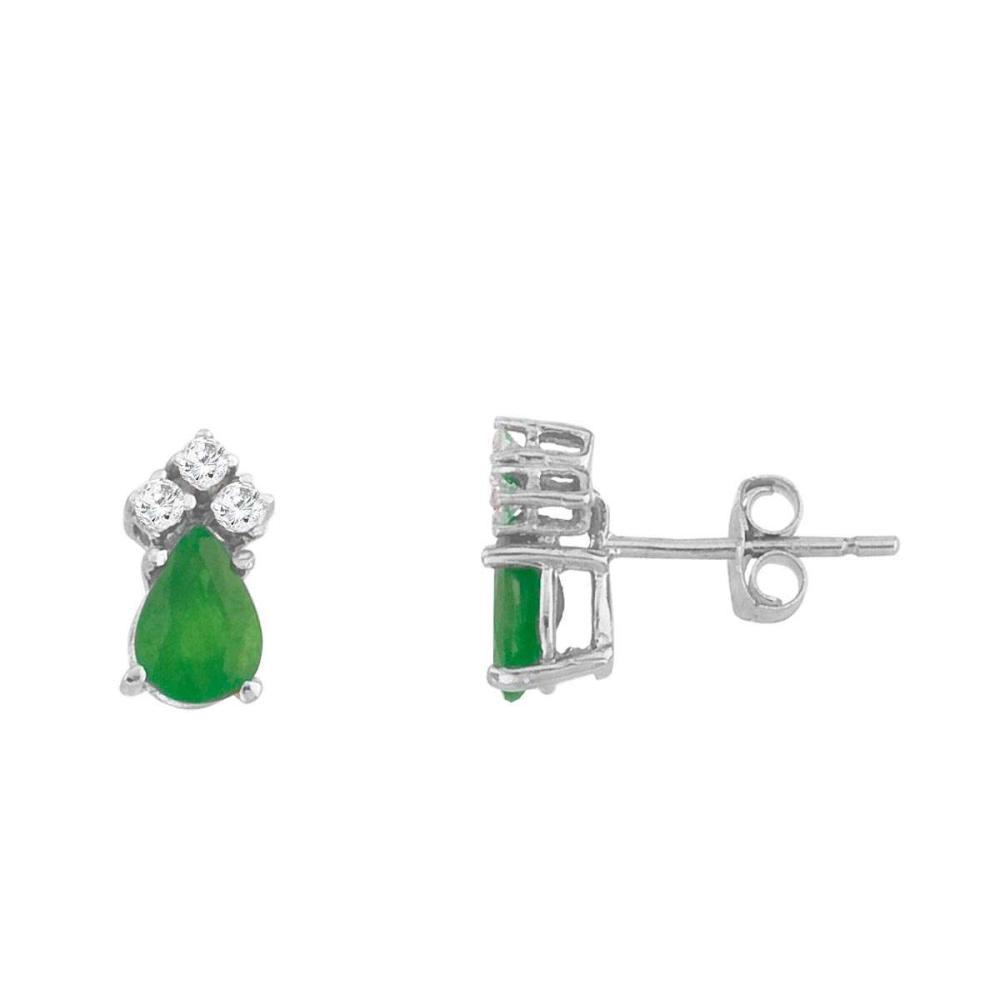 Certified 14k White Gold Emerald And Diamond Pear Shaped Earrings #PAPPS26881