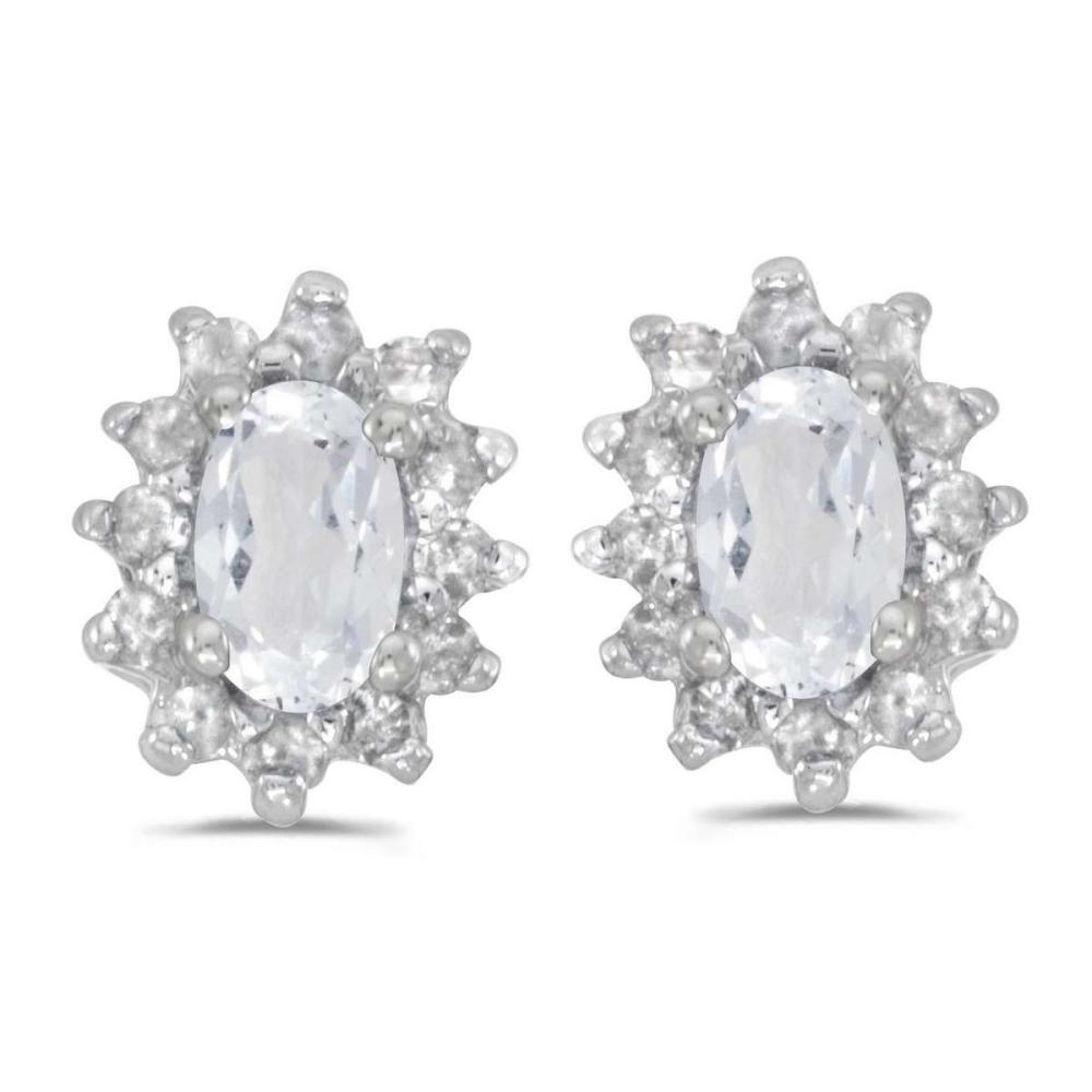 Certified 14k White Gold Oval White Topaz And Diamond Earrings 0.71 CTW #PAPPS27352