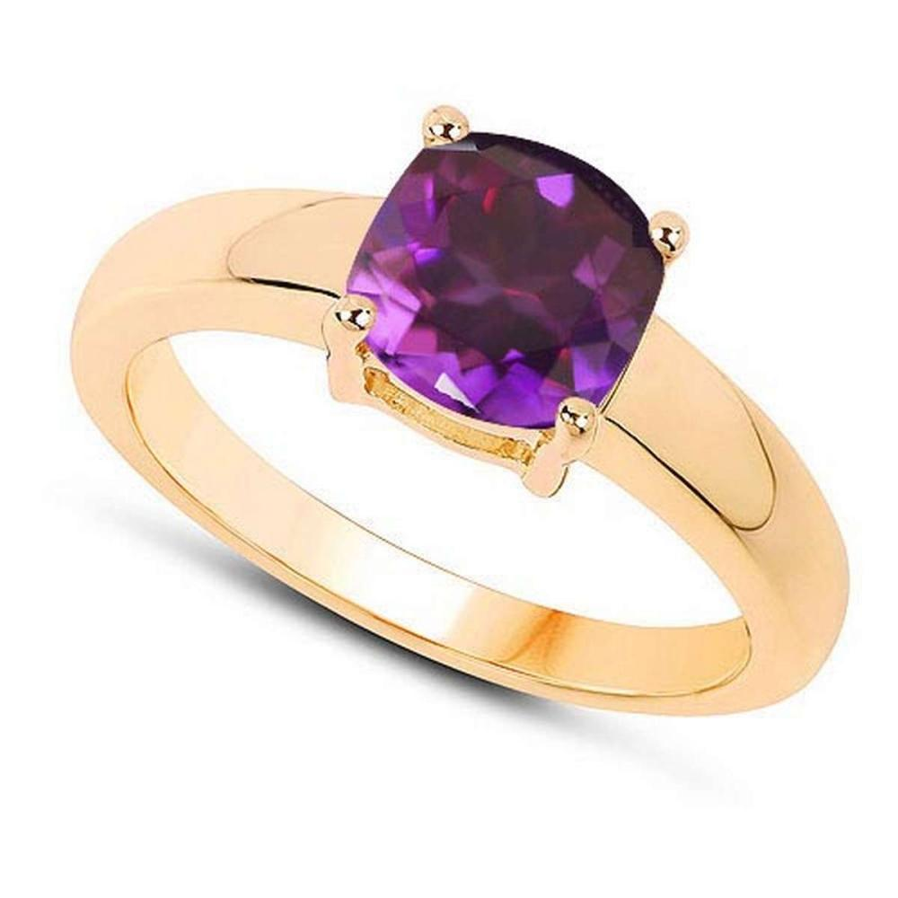 Certified 1.50 CTW Genuine Amethyst And 14K Yellow Gold Ring #PAPPS90974
