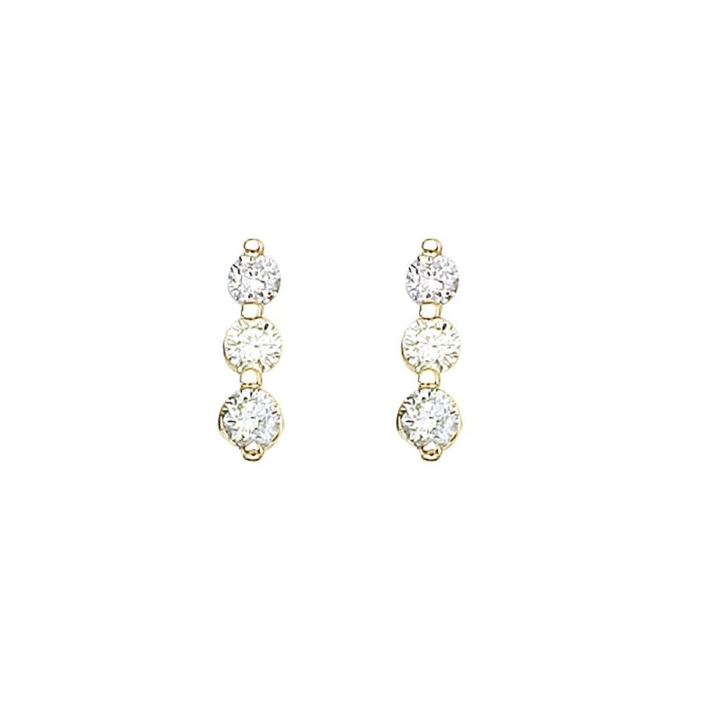 Certified 14k Yellow Gold .50 ct 3 Stone Diamond Earring #PAPPS26838