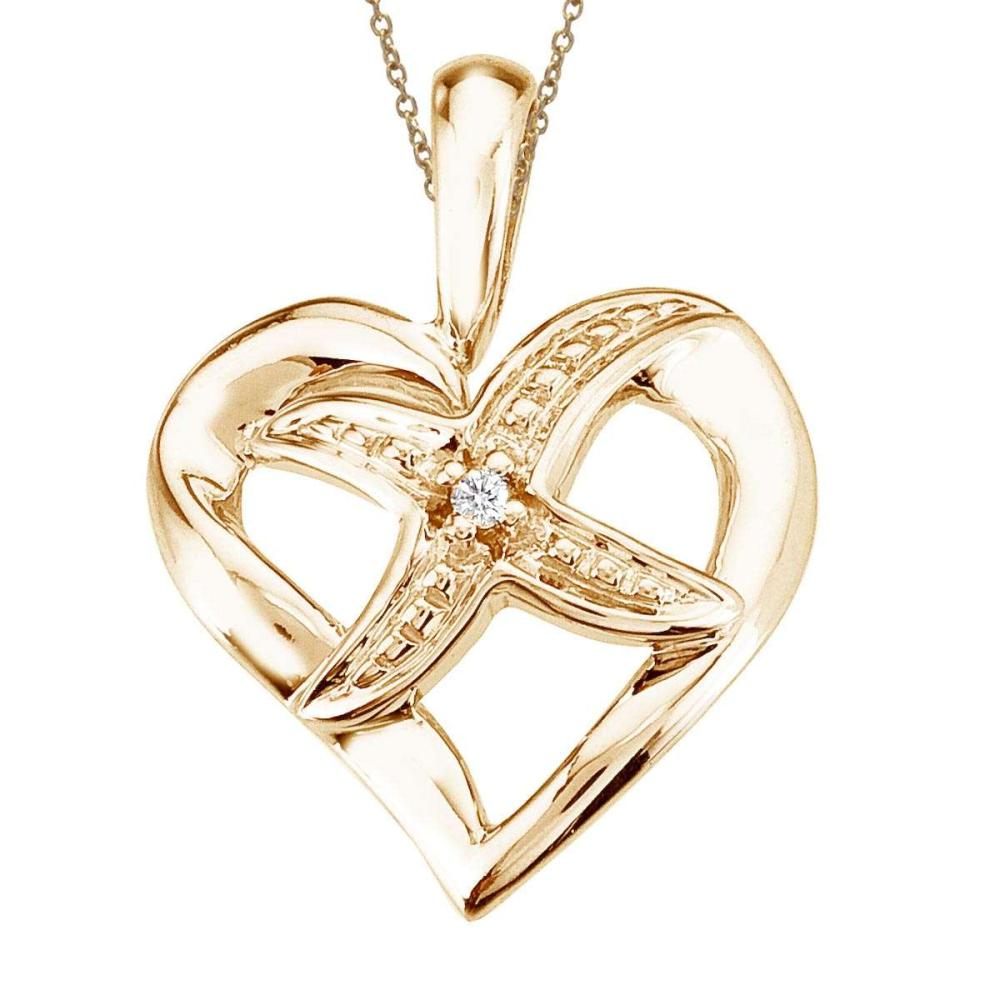Certified 14K Yellow Gold Diamond Fashion Heart Star Pendant 0.01 CTW #PAPPS27476