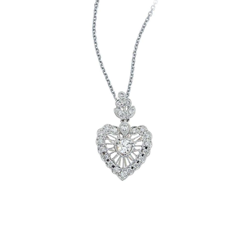 Certified 14K White Gold Vintage Inspired Diamond Heart Pendant (.38 carat) #PAPPS26597