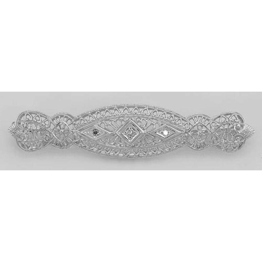 Art Deco Style Filigree 3 Diamond Bar Pin / Brooch - Sterling Silver #PAPPS98098