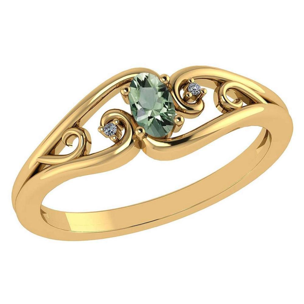 Certified 0.22 Ctw Green Amethyst And Diamond 14k Yellow Gold Simple Ring #PAPPS95541