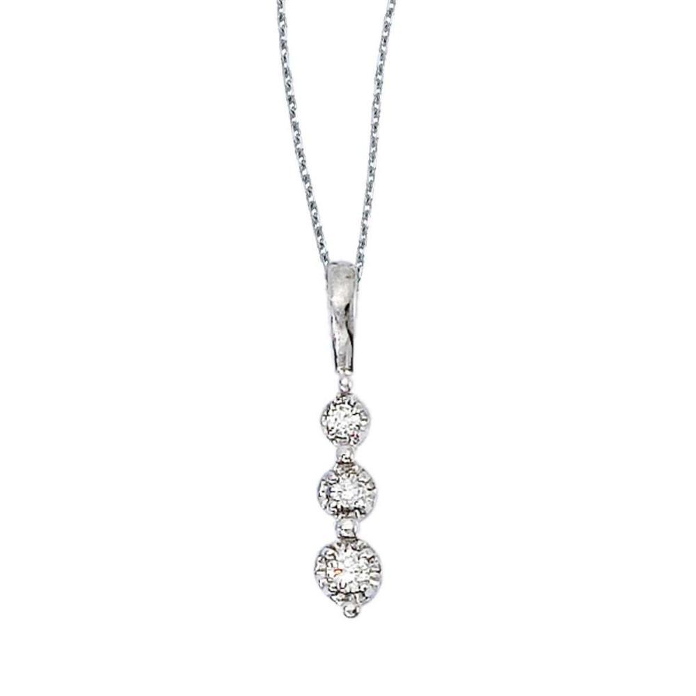 Certified 14k White Gold 3 Stone Diamond Drop Pendant #PAPPS26836
