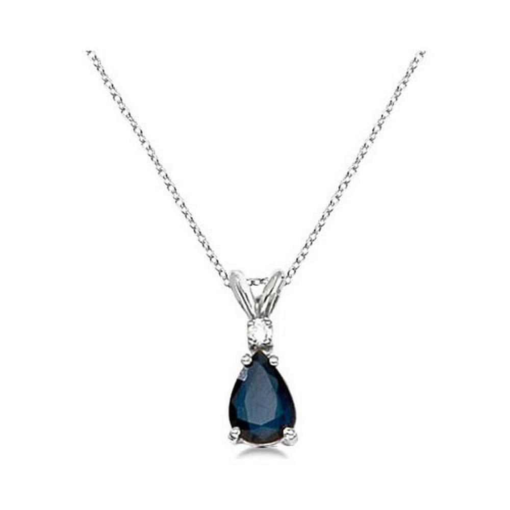 Pear Blue Sapphire and Diamond Solitaire Pendant Necklace 14k White Gold #PAPPS20906