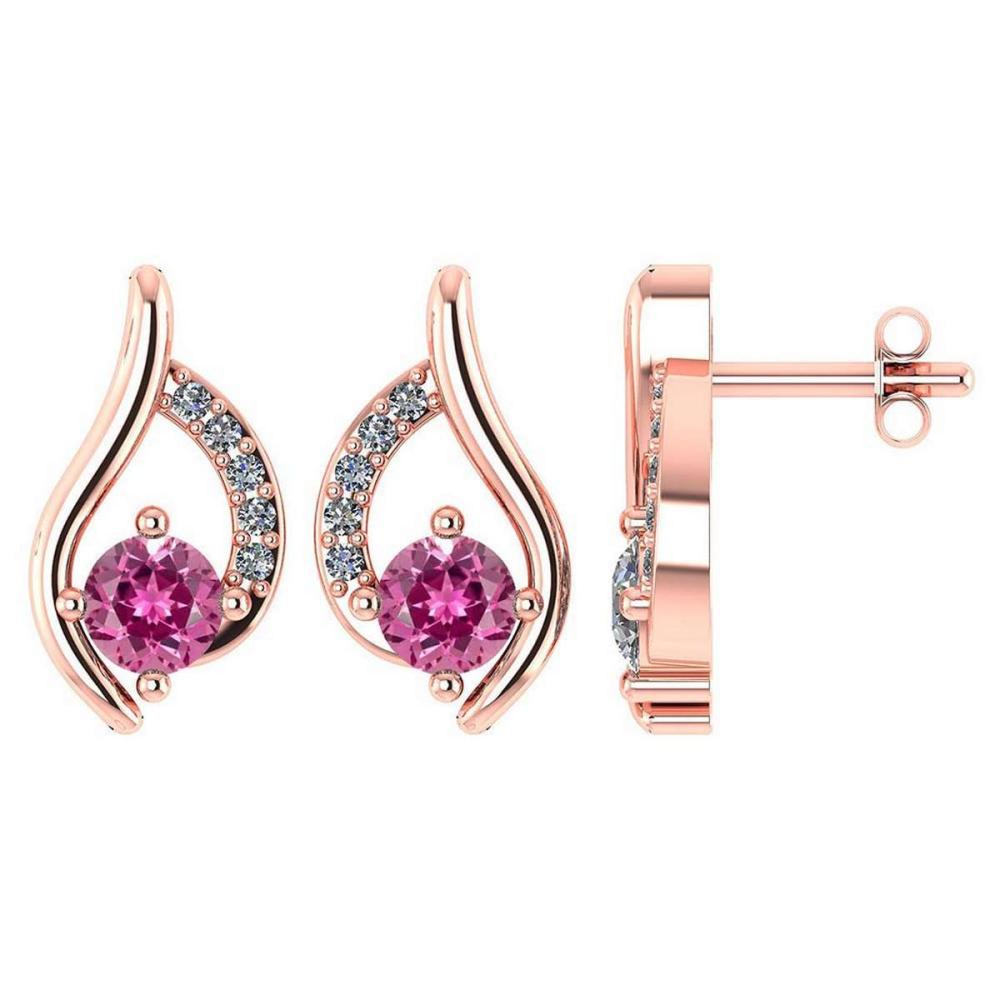 Certified .51 CTW Genuin Pink Tourmaline And Diamond (G-H/SI1-SI2) 14K Rose Gold Stud Earring #PAPPS93022