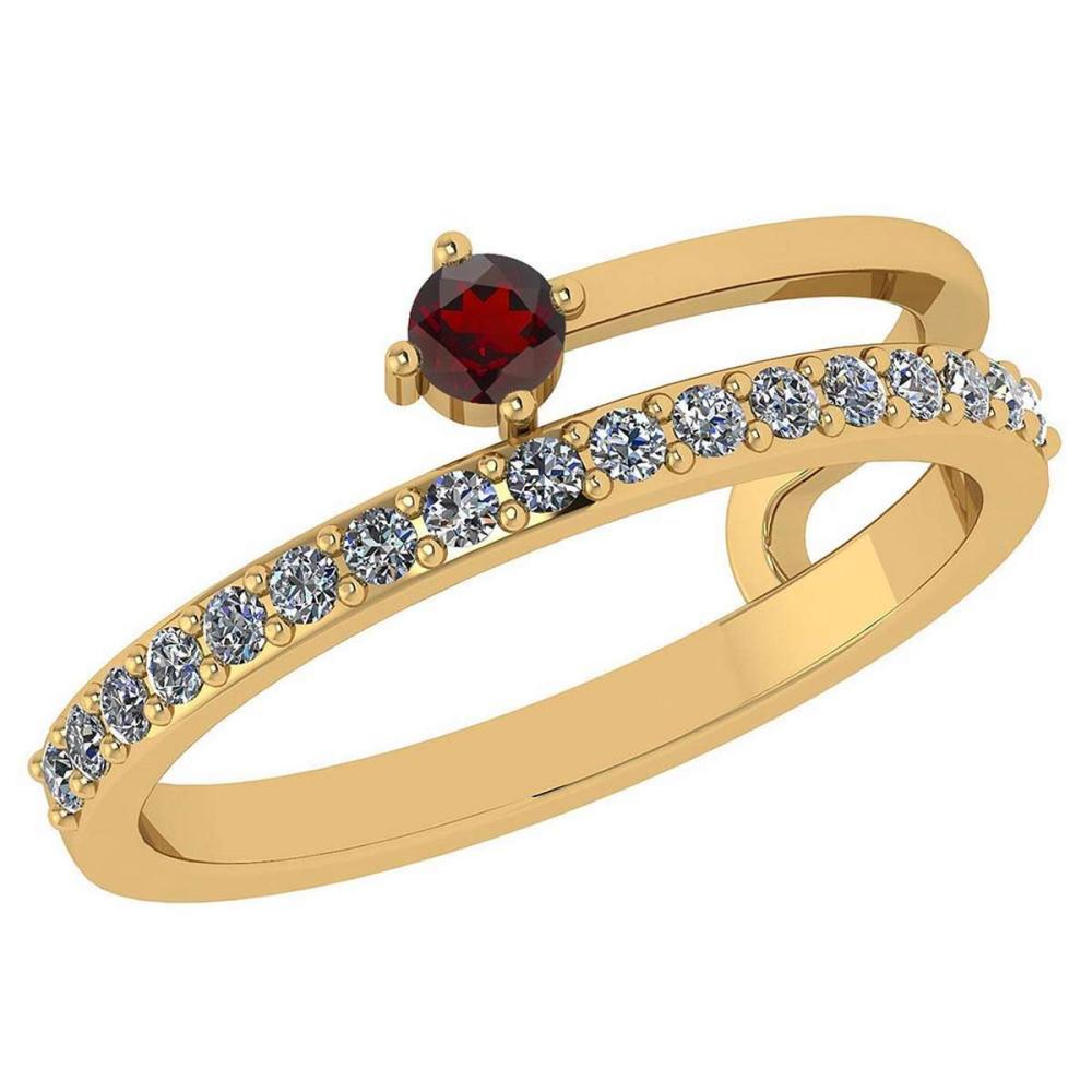 0.34 Ctw Garnet And Diamond 14k Yellow Gold Halo Band #PAPPS96118