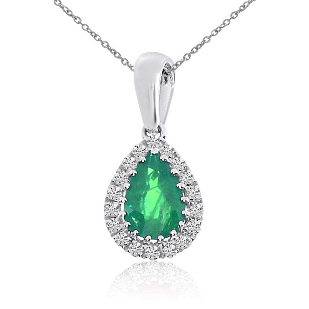 Certified 14k White Gold Emerald and Diamond Drop Pendant #PAPPS26799