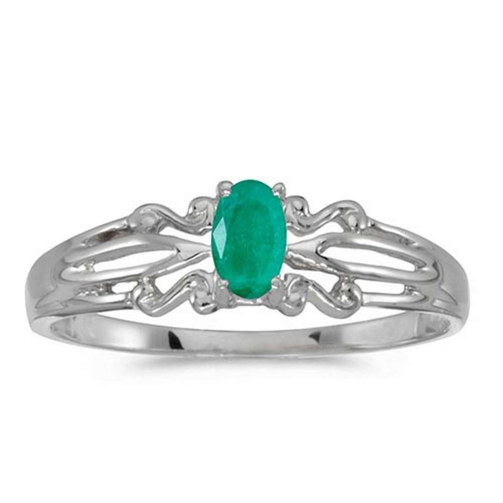 Certified 14k White Gold Oval Emerald Ring #PAPPS50882