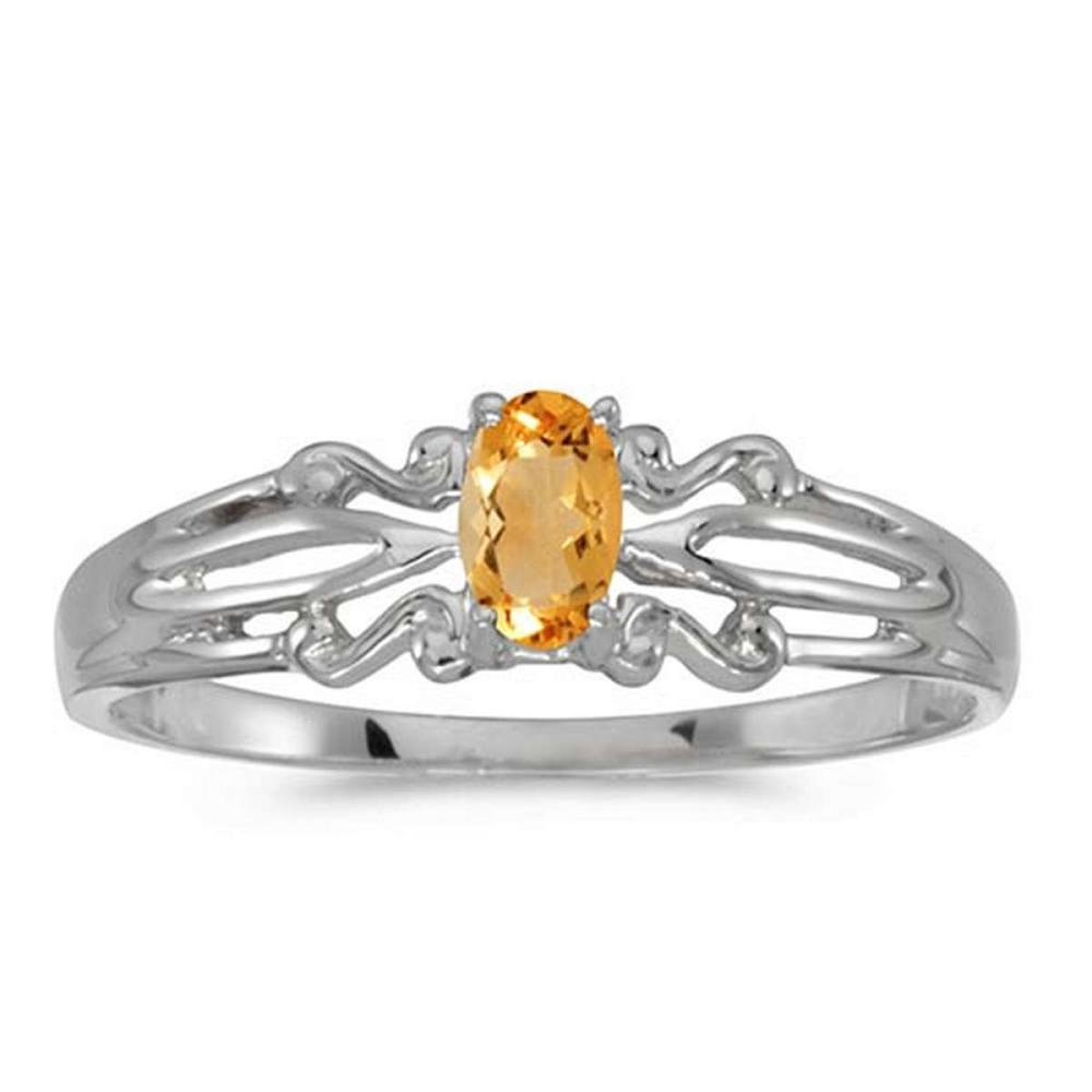 Certified 14k White Gold Oval Citrine Ring #PAPPS50843