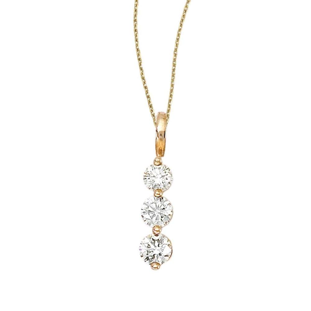Certified 14k Yellow Gold 3 Stone Diamond Drop Pendant #PAPPS26835