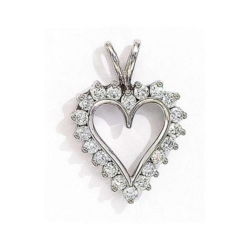 Certified 14K White Gold Diamond Heart Pendant 1.25 CTW #PAPPS27687