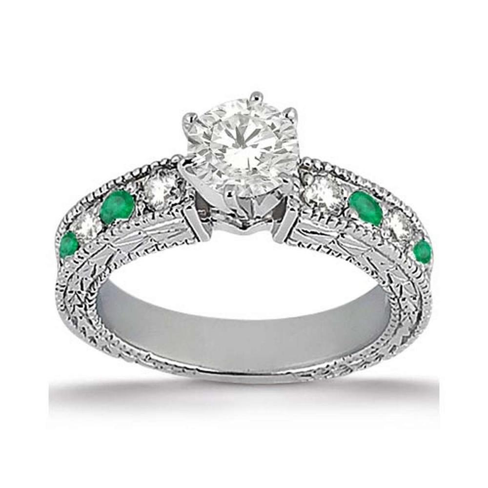 Antique Diamond and Emerald Engagement Ring 14k White Gold (1.52ct) #PAPPS21287